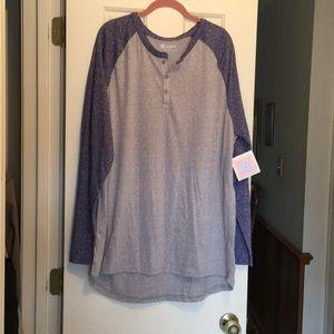 LuLaRoe Mark shirt 3X gray & blue NWT